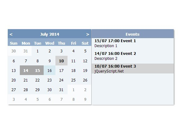 Create A Simple Event Calendar with jQuery - e-calendar