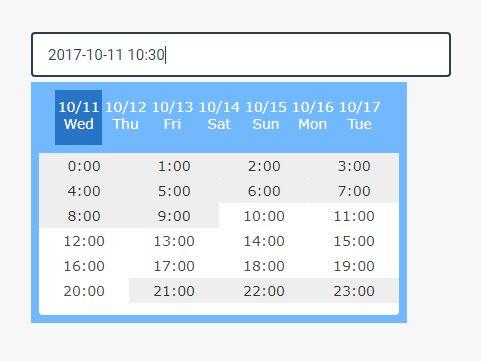 https://www.jqueryscript.net/time-clock/Select-Date-Time-In-Next-7-Days-jQuery-Calendar7.html