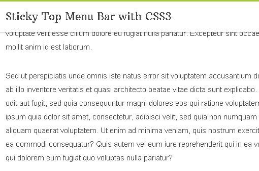 http://www.jqueryscript.net/css3-html5/Sticky-Top-Menu-Bar-with-CSS3.html