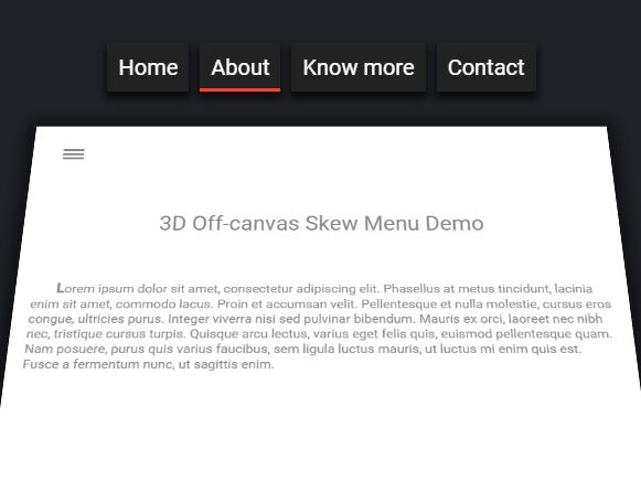 3D Off-canvas Skew Menu with jQuery and CSS3