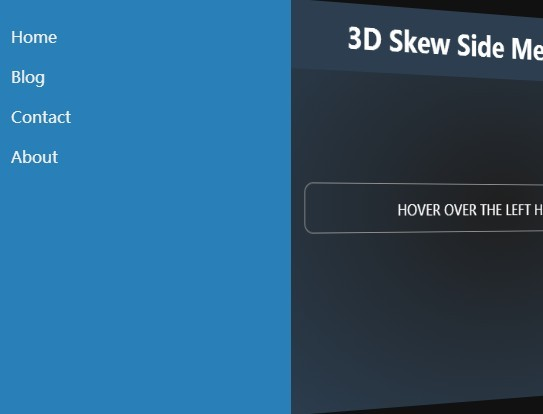 3D Skew Side Menu with jQuery and CSS3 Transforms
