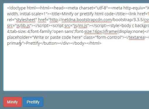 A jQuery Tool To Minify and Beautify Html Code | Free jQuery Plugins