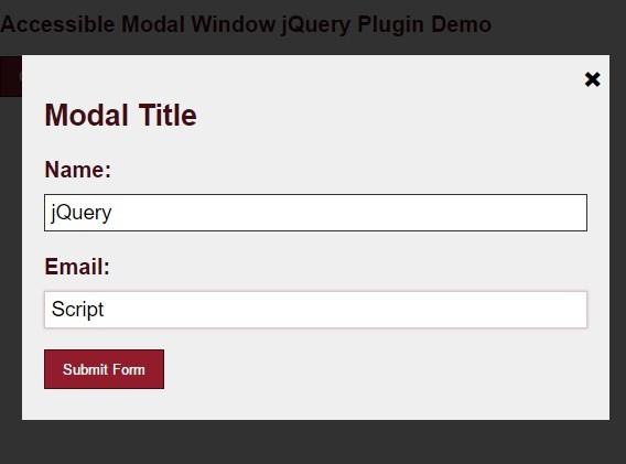 Accessible responsive modal window with jquery and css3 for Window jquery