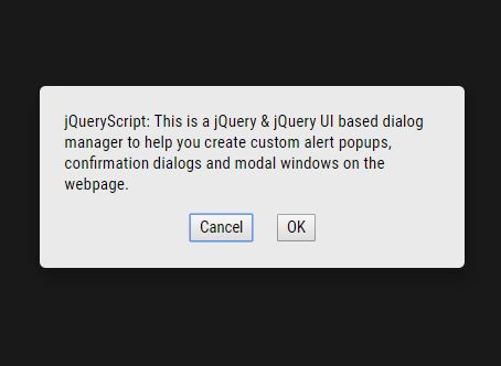 Create Custom Alert/Confirm/Modal Popups With jQuery UI - Dialogs Manager