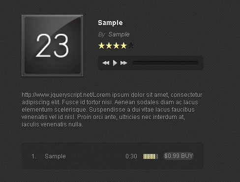 Amazing Music Player Plugin with jQuery and HTML5