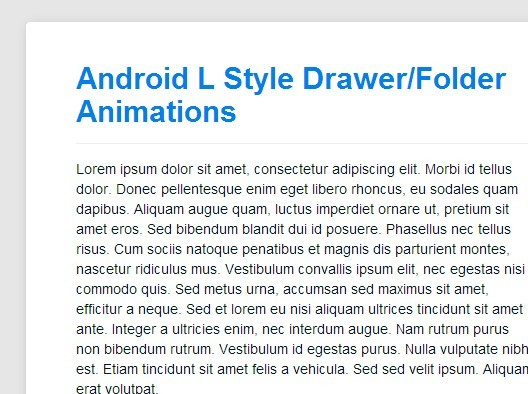 Android L Style Drawer/Folder Animations with jQuery and CSS3