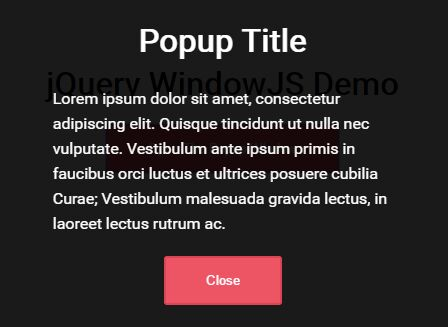 Animated Customizable Popup Window Plugin For jQuery - WindowJS