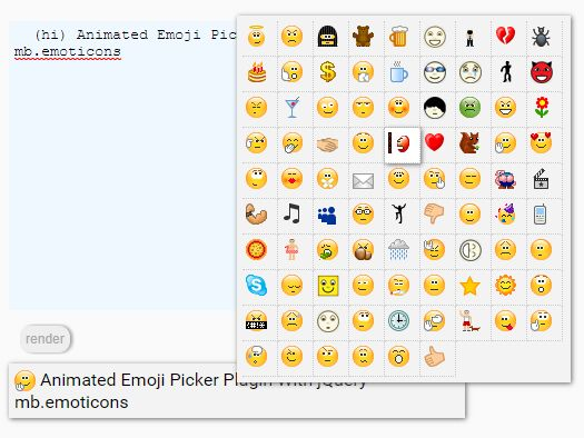 Animated Emoji Picker Plugin With jQuery - mb.emoticons