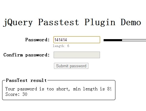 Animated Password Strength Indicator with jQuery Passtest Plugin