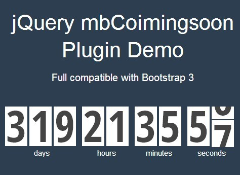 Animated and Responsive jQuery Countdown Timer Plugin - mbCoimingsoon