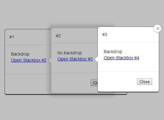 Animated & Stackable Modal Plugin with jQuery and CSS3 - Stackbox