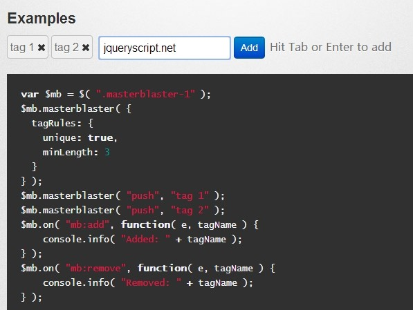 Animated jQuery Tag/Token Input Plugin - masterblaster