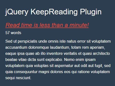 Article Word Counter & Reading Time Plugin - jQuery KeepReading