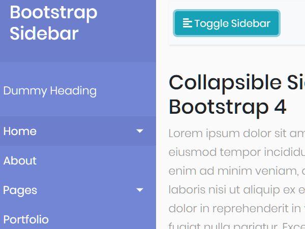 Bootstrap Menu Sidebar Template 1