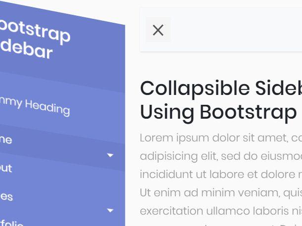 Bootstrap Menu Sidebar Template 5