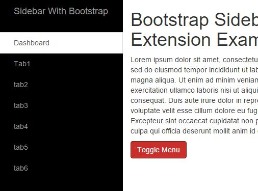 Bootstrap Sidebar Extension With jQuery And CSS / CSS3