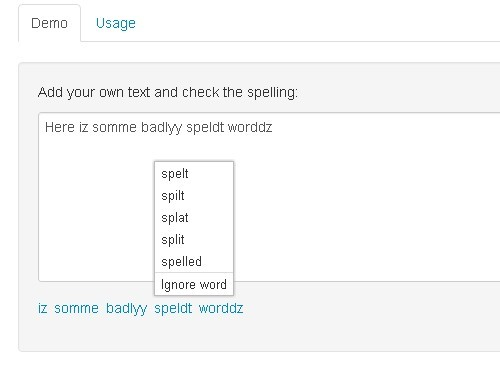 Browser Based Spell Checking Plugin For jQuery - Spellchecker