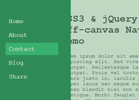 CSS3 & jQuery Based Off-canvas Navigation with Fullscreen Overlay