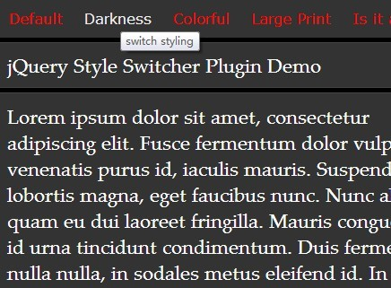 Change/Switch Stylesheets with jQuery Style Switcher Plugin