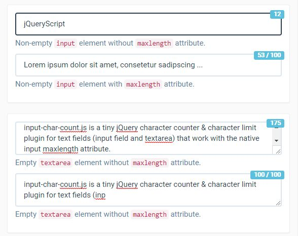Versatile jQuery Character Counter Plugin - CharacterCount js | Free