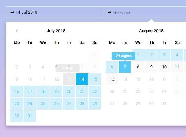 Check-in And Check-out Date Range Picker - jQuery t-datepicker