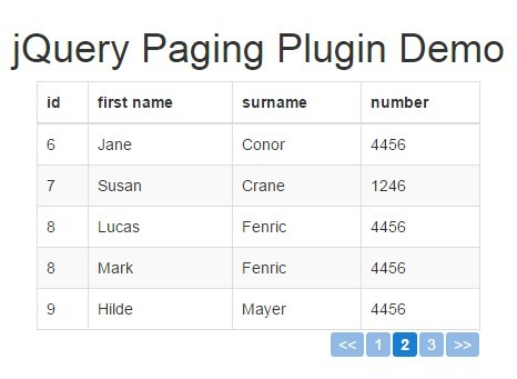 Client-side HTML Table Pagination Plugin with jQuery