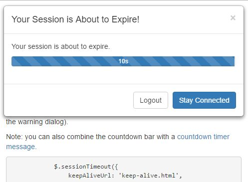Configurable Session Timeout & URL Redirect Plugin For Bootstrap
