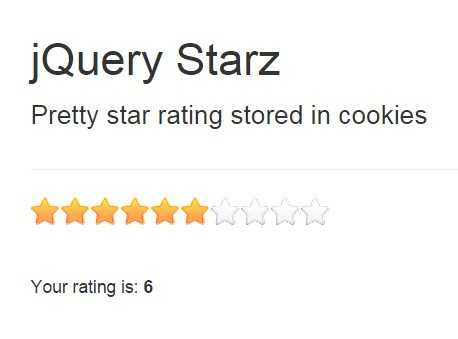 Cookie-enabled jQuery Star Rating Plugin - starz