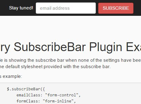Cookie-enabled jQuery Subscribe Form Bar Plugin - SubscribeBar
