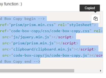 Copy Code To Clipboard Plugin For Syntax Highlighter