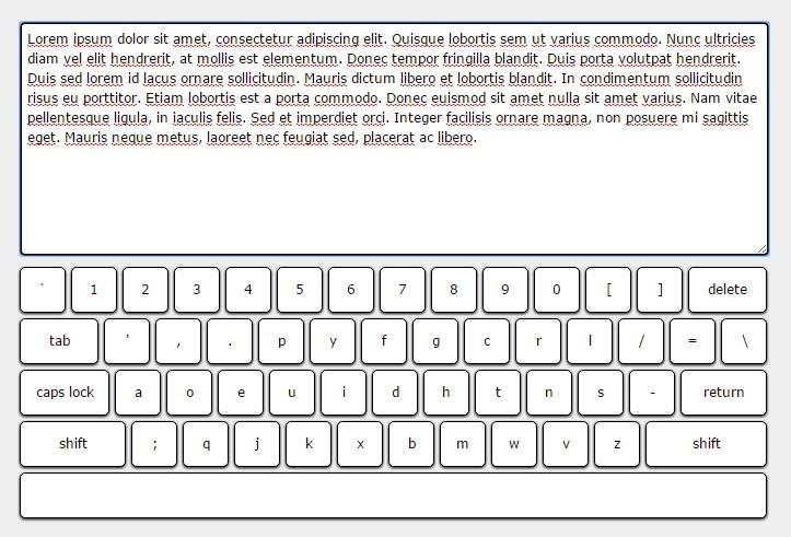 Create AN On-screen DVORAK Keyboard using jQuery and CSS