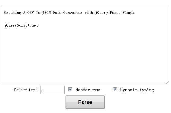 Creating A CSV To JSON Data Converter with jQuery Pa<font color='red'>rse</font> Plugin