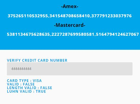 Credit Card Number Generator & Validator With jQuery - ValidMYCard
