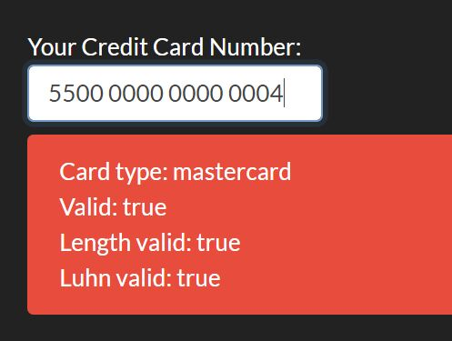 Credit Card Number/Type/Length/Luhn Validator - jquery.creditCardValidator.js