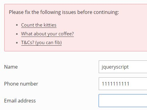 Cross-browser HTML5 Form Validation Plugin For jQuery - Attrvalidate