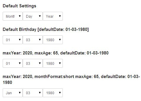 Customizable Dropdown Birthday Picker Plugin with jQuery