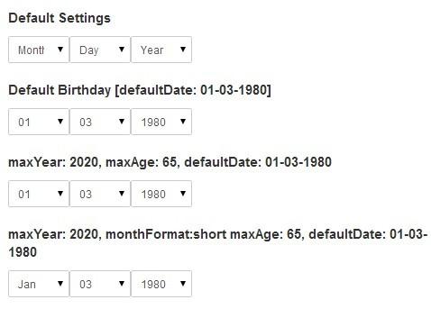Customizable Dropdown Birthday Picker Plugin with jQuery