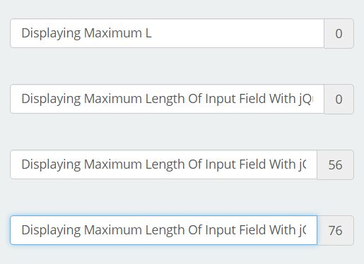 Displaying Maximum Length Of Input Field With jQuery - Maxlength