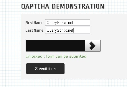 Draggable jQuery Captcha Plugin - QapTcha