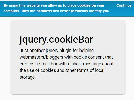 Small Configurable EU Cookie Law Notice Bar Plugin - cookieBar