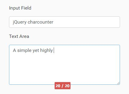 Easy Character Counter Plugin For Text Fields - charcounter
