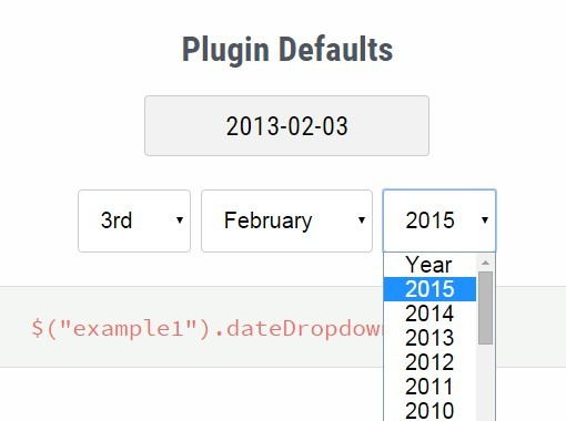 Easy Customizable jQuery Dropdown Date Picker Plugin