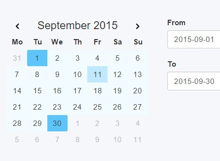 Easy Date Range Picker Plugin with jQuery and Moment.js - PAcalendar