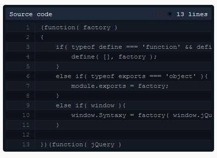 Easy Flexible Syntax Highlighting Plugin For jQuery - Syntaxy.js