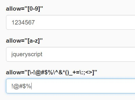 Easy Input Filed Filtering Plugin With jQuery - input-allow