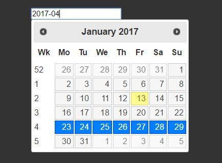 Easy Week Picker Widget For jQuery UI - weekPicker.js