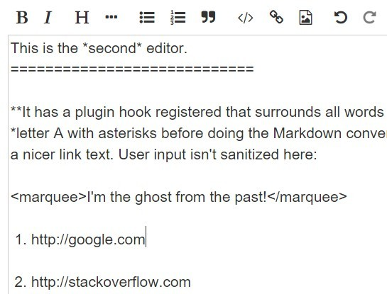 Easy jQuery Markdown Editor with Instant Preview - mdejs