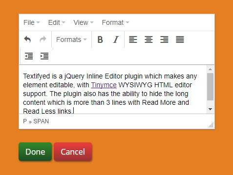 Make Element Editable With Tinymce Support - jQuery Textifyed