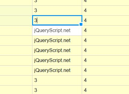 Excel-like Data Grid Editor For jQuery - handsontable | Free jQuery