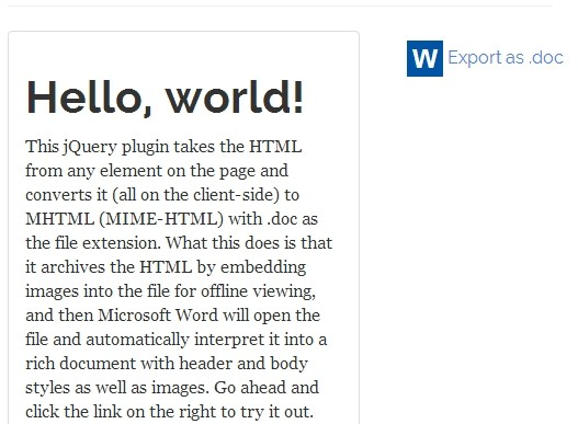 Export Html To Word Document With Images Using jQuery Word Export